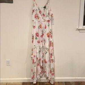 White floral flounce challis maxi dress
